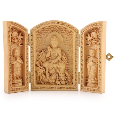 Chinese Buddhist Carved Wood Triptych with Inscribed Verso