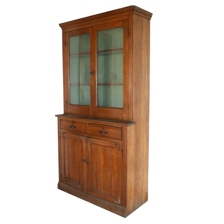 American Primitive Oak Cupboard, Late 19th Century