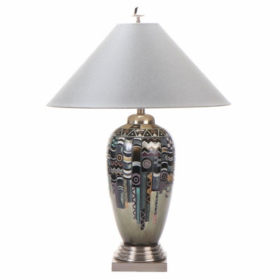 Leeazanne Memphis Art Inspired Ceramic Table Lamp