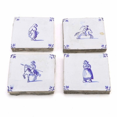 Delft Blue and White Ceramic Tiles, 19th Century