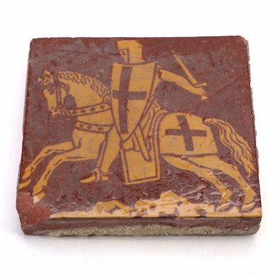Red and Ochre Glazed Templar Knight Design on Terracotta Tile