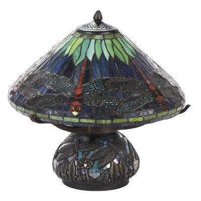 Stained Glass Hanging Head Dragonfly Accent Lamp