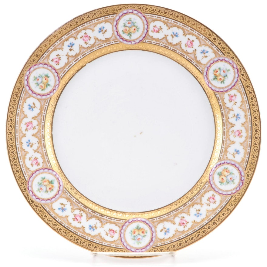 William Guérin & Co. Gilt and Floral Hand-Painted Porcelain Plate, Early 20th C.