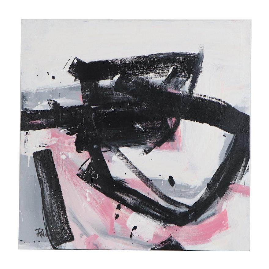 "Robbie Kemper Acrylic Painting ""Pink Black Grey"""