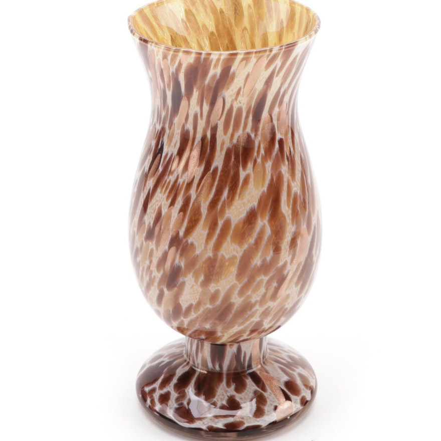 Maestri Vetrai Footed Blown Glass Vase