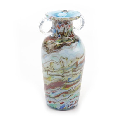 Murano Multicolored Blown Glass Vase
