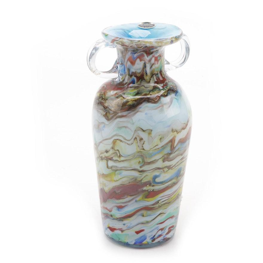 Murano Multicolored Blown Glass Vase