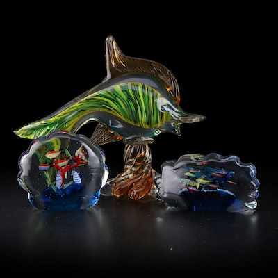 Artisan Hand-Blown Fish and Tropical Glass Table Decor