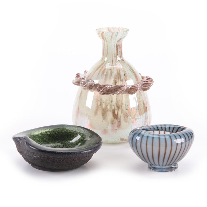 Vicke Lindstrand for Kosta Glass Bowl with Murano Vase and Volcanic Rim Bowl