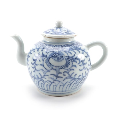 Chinese Floral Blue and White with Lid, Qing