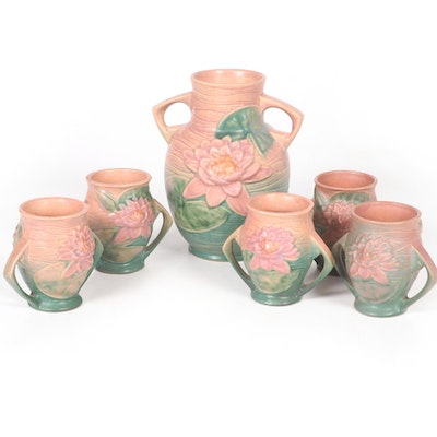 """Roseville Pottery """"Water Lily"""" Vases, 1940s"""