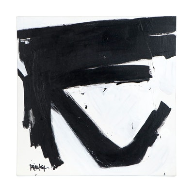 "Robbie Kemper Acrylic Painting ""Black Top Angle White"", 21st Century"