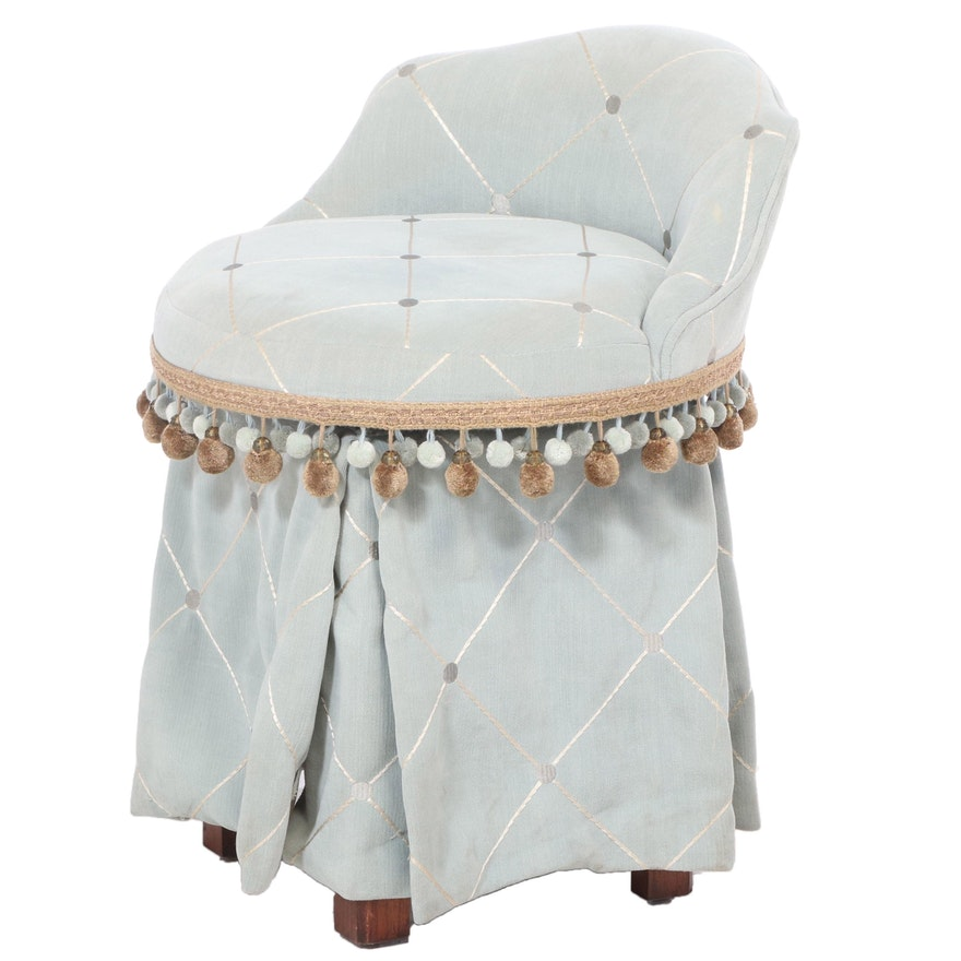 Custom-Upholstered Swivel Vanity Stool