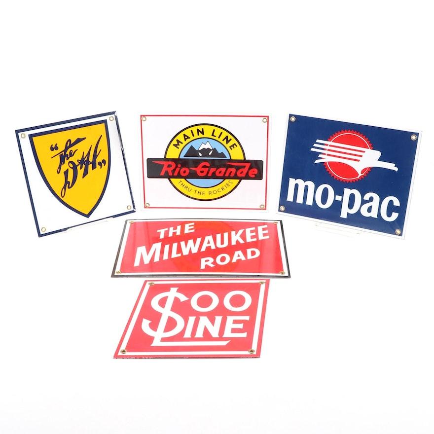 "Replica Railway Metal Signs, ""Rio Grande"", ""Soo Line"", ""Milwaukee Road"" and More"
