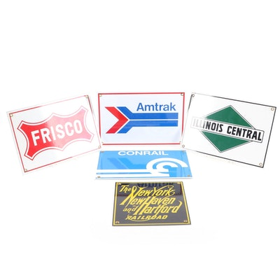 "Replica Metal American Railway Signs ""Illinois Central,"" ""Amtrak,"" and More"
