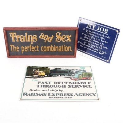"Metal Train Signs Including ""Railway Express Agency,"" and More, Contemporary"