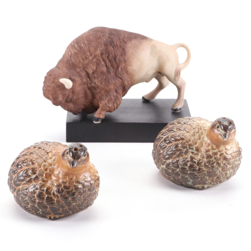 Cybis Ceramic Bison Figurine with Wood Base and Other Quail Shakers, Mid-20th C.