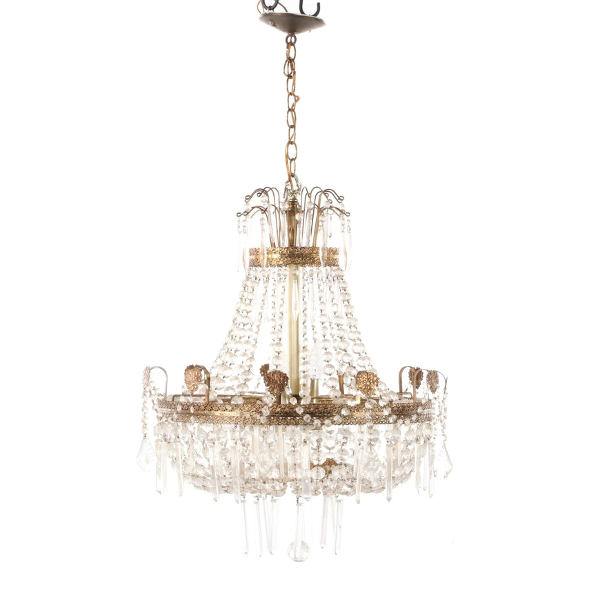 Neoclassical Style Crystal and Gilt Metal Chandelier, Mid to Late 20th Century