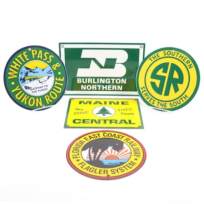 "Replica Metal Railway Lines Signs, ""Burlington Northern,"" ""Maine Central,"" More"
