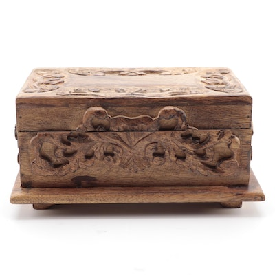 Hand-Carved Camphor Box with High Relief Floral Accents and Flared Base