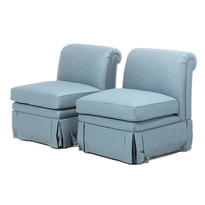 Pair of Custom-Upholstered Slipper Chairs