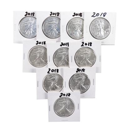 Ten 2018 American Silver Eagle Bullion Coins