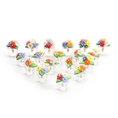 Glass Flower Basket Place Card Holders, Early to Mid 20th Century