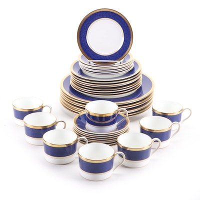 "Coalport ""Athlone Blue"" Bone China Dinnerware Service for Eight, 1970–1993"