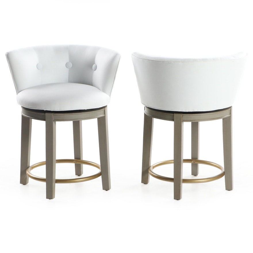 Pair of Cox Contemporary Button-Tufted Upholstered Barrel Back Barstools