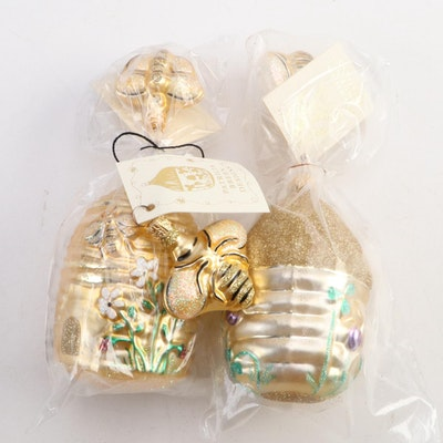 """Patricia Breen Designs """"Trelliage Beehive"""" and Bee Ornaments, Late 20th Century"""