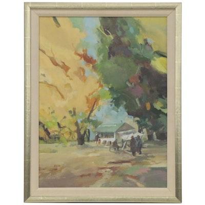 Parsons Plein Air Oil Painting of Vendor Scene