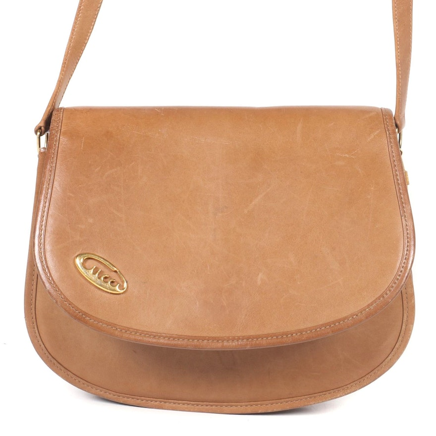 Gucci Web Stripe Flap Front Crossbody Bag in Brown Leather