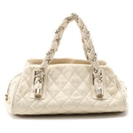 Chanel Twist Roped Top Handle Bag in Cream Quilted Leather