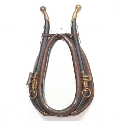 Leather Horse Collar Mirror with Mixed-Metal Hames, Adapted, 20th Century