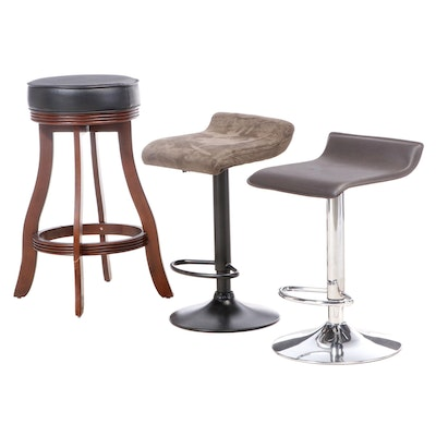 Two Modern Style Metal Adjustable Bar Stools with Wood Counter Height Stool