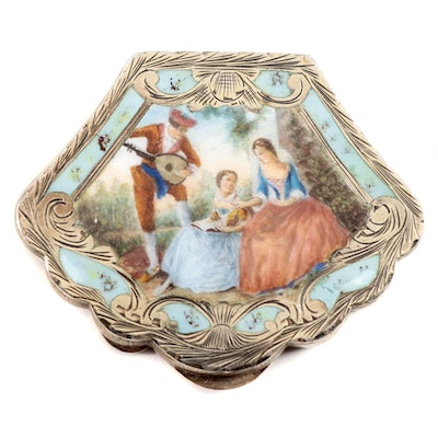 Italian Chased 800 Silver and Enamel Compact with Courting Scene
