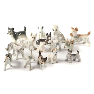 Ceramic Hound and Terrier Figurines, Mid-20th Century
