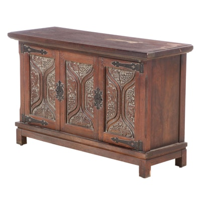 Spanish Baroque Style Walnut Console Cabinet, Mid to Late 20th Century