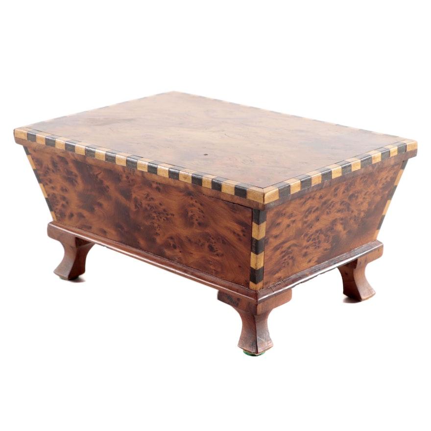Burled Wood Inlaid Sarcophagus Style Box