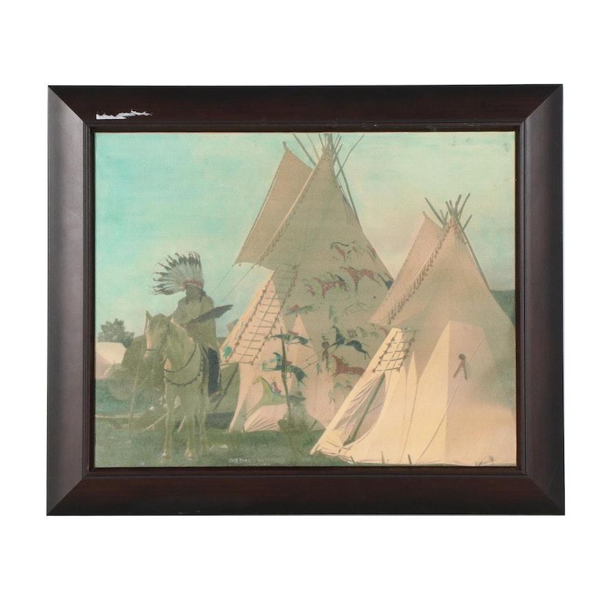 Native American Scene Giclée, Late 20th Century