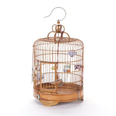 Chinese Style Wooden Bird Cage with Jadeite, Agate, and Bone Charms