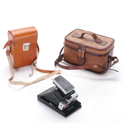 Polaroid SX-70 Land Camera with Leather Case and Elliot Lucca Woven Handbag