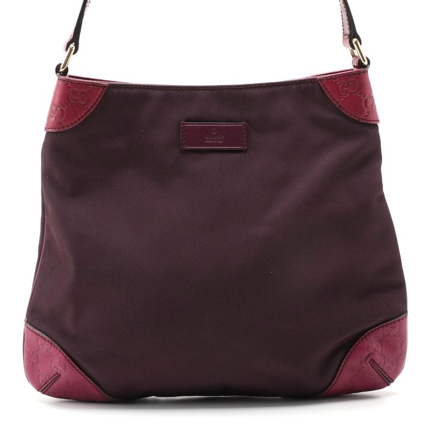 Gucci Magenta Nylon and GG Guccissima Leather Shoulder Bag