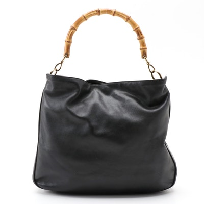 Gucci Bamboo Handle Black Leather Hobo Bag