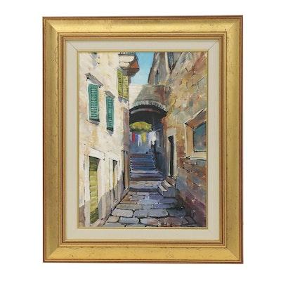 Hrvoje L. Kapelina Oil Painting of European Architecture