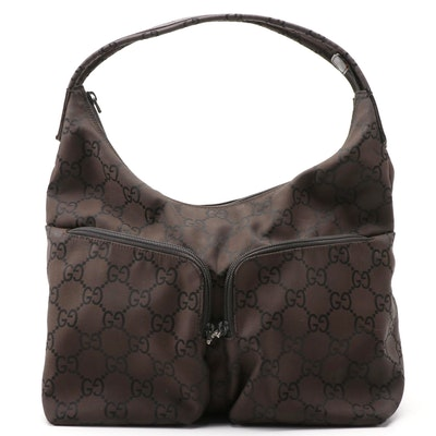 Gucci GG Dark Brown/Black Canvas Shoulder Bag with Leather Trim