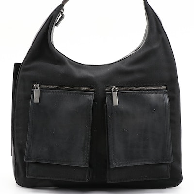 Gucci Black Canvas and Leather Hobo Bag