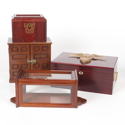 Wooden Jewelry Box, Photo Frame Keepsake Box, Humidor and Wall Vitrine