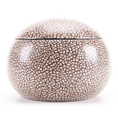 Mosaic Eggshell Lacquer Lidded Spherical Box
