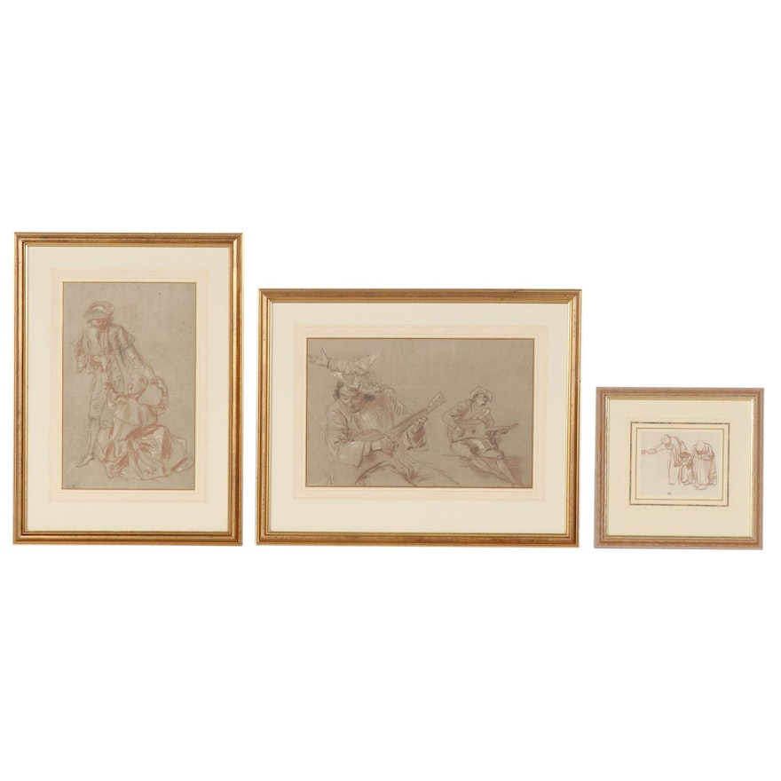 Giclée after Rembrandt and Antoine Watteau Sketches, Late 20th Century